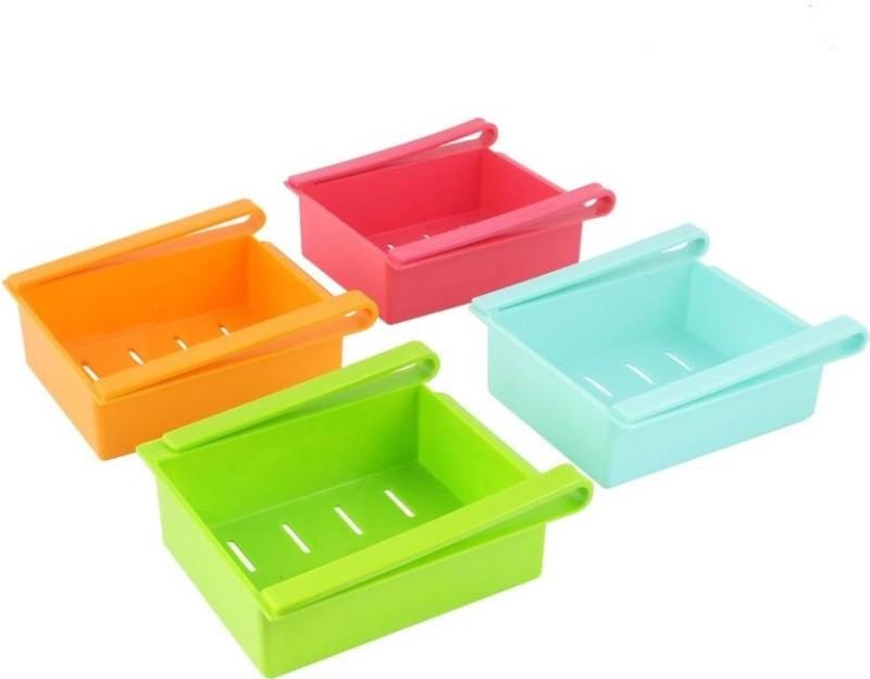 Bluewhale New Fridge Space Saver Organizer Slide Storage Rack Shelf Drawer,(Set Of 4) Plastic Kitchen Rack(Green, Pink, Blue, Orange)