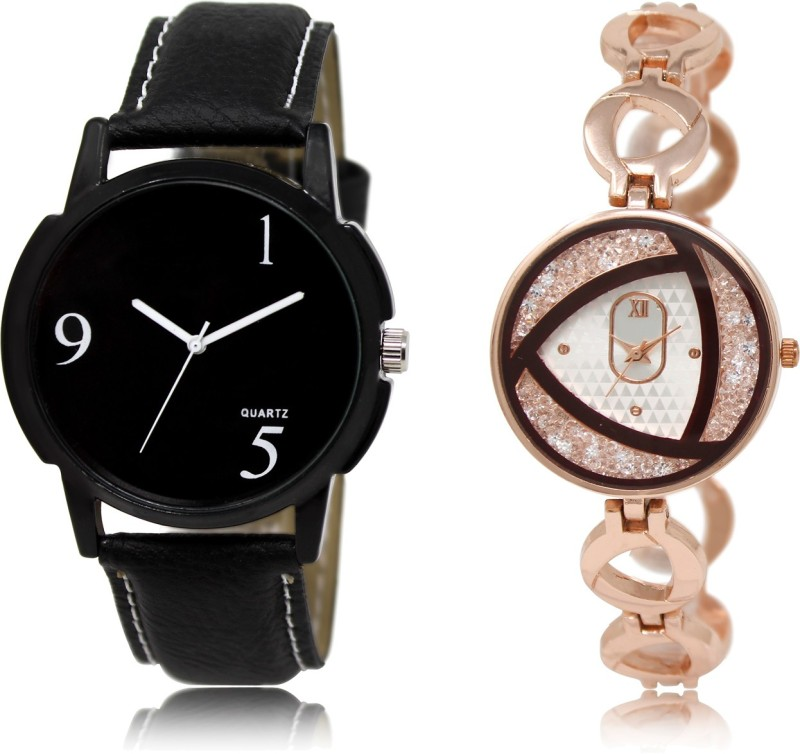 FASHION POOL BLACK & ROSE GOLD DESIGNER ANALOGUE DIAL DIAMOND STUDDED COUPLE COMBO WATCH FOR BOYS_GIRLS METAL & LEATHER BELT NEW ARRIVAL FAST SELLING TRACK DESIGNER WATCH FOR FESTIVAL_PARTY_PROFESSIONAL_VALENTINE_BIRTHDAY GIFT SPECIAL COMBO WATCH FOR MEN_WOMEN Watch - For Couple