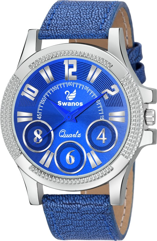 swanos Stylish Silver Color Case Blue Dial Leather Strep Men Watch Analog Watch - For Men