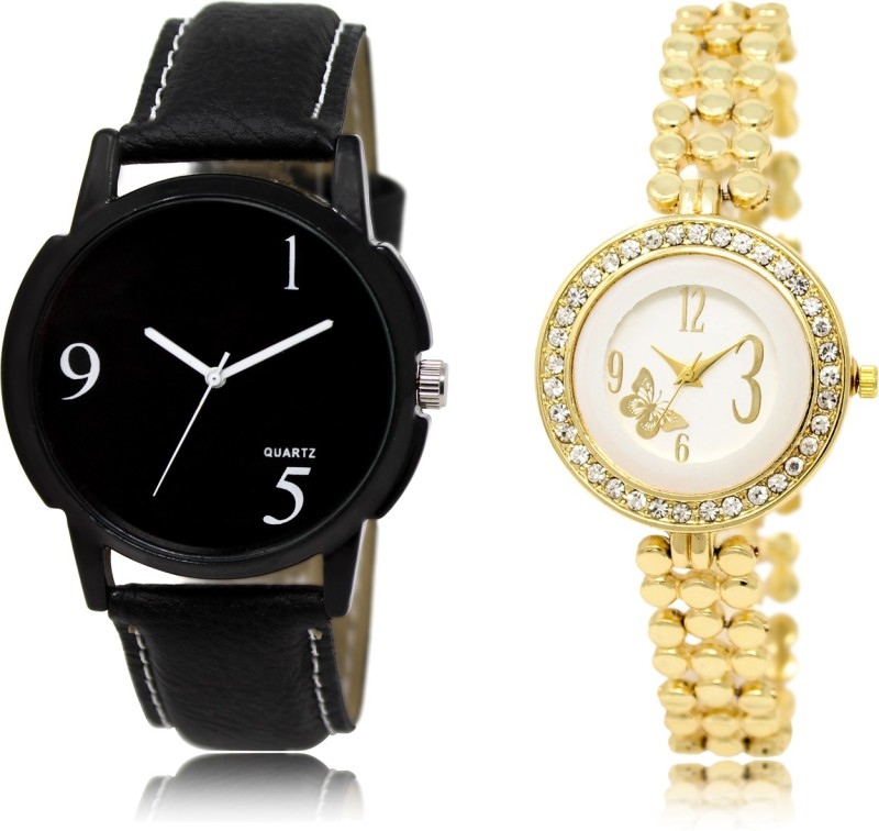 FASHION POOL BLACK PROFESSIONAL DIAL DESIGNER LEATHER BELT COUPLE COMBO WATCH WITH GOLD ANALOGUE DIAL LADIES WATCH FOR BOYS_GIRLS METAL & LEATHER BELT NEW ARRIVAL FAST SELLING TRACK DESIGNER WATCH FOR FESTIVAL_PARTY_PROFESSIONAL_VALENTINE_BIRTHDAY GIFT SPECIAL COMBO WATCH FOR MEN_WOMEN Watch - For