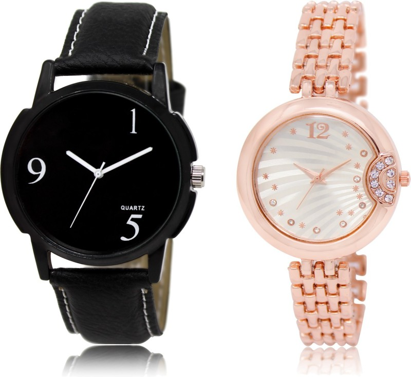 FASHION POOL BLACK & ROSE GOLD DESIGNER ANALOGUE DIAL LADIES_GENTS COUPLE COMBO WATCH FOR BOYS_GIRLS METAL & LEATHER BELT NEW ARRIVAL FAST SELLING TRACK DESIGNER WATCH FOR FESTIVAL_PARTY_PROFESSIONAL_VALENTINE_BIRTHDAY GIFT SPECIAL COMBO WATCH FOR MEN_WOMEN Watch - For Couple