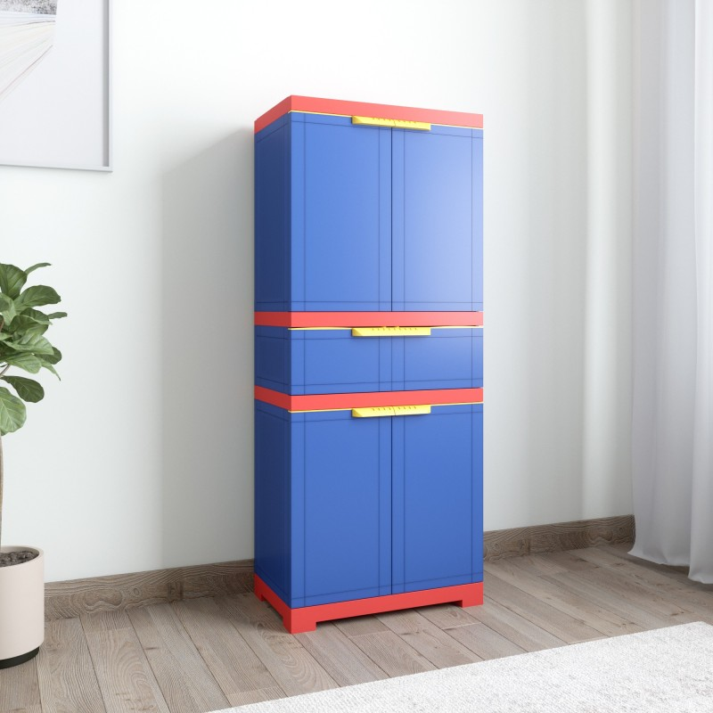 2c55a6a8d8f latest price Nilkamal Freedom FMDR 1C Plastic Free Standing Cabinet Finish  Color Pepsi Blue Bright Red