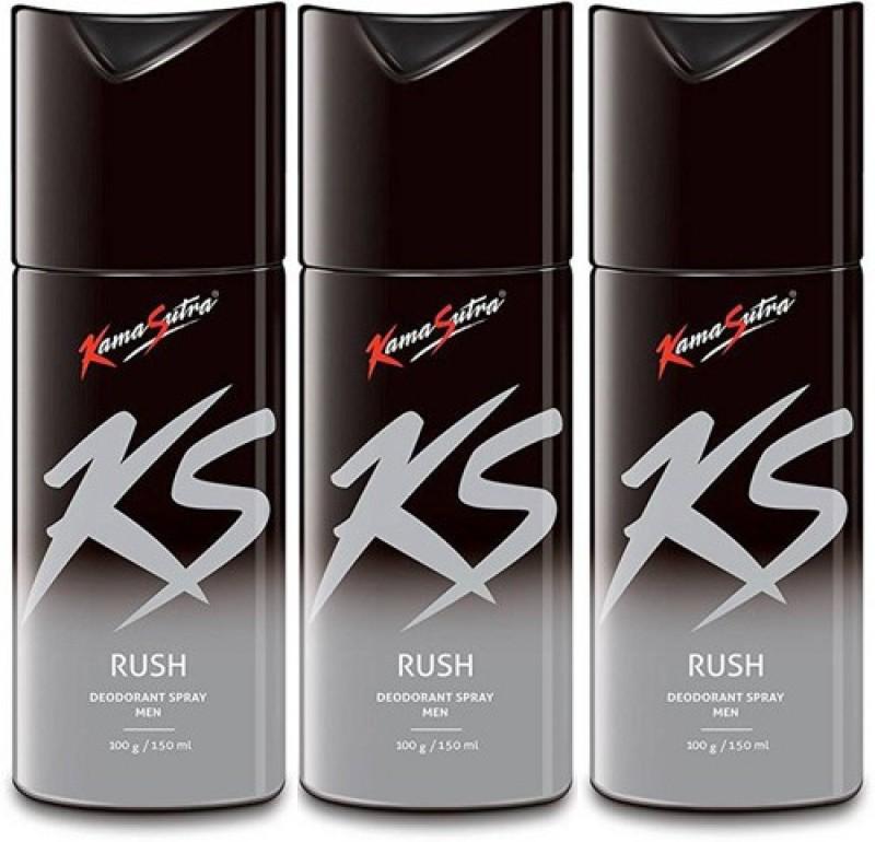 KamaSutra KS Rush Rush Rush Deodorant Spray - For Men(450 ml, Pack of 3)