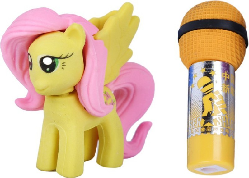 AutoVHPR Set of 2 Cute Yellow Mare with yellow Mike shaped Eraser for School Children Non-Toxic Eraser(Set of 2, Multicolor)