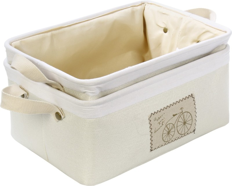 HomeStorie Eco-Friendly Foldable Storage Basket Bins Organizer, Medium - Set of 2 (Cream) Storage Basket(Pack of 2)