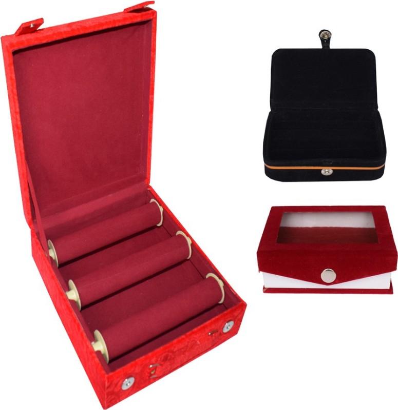 Aadhya Combo Of Bangle & Ring Box (Maroon,Black) Vanity Box(Maroon, Black)