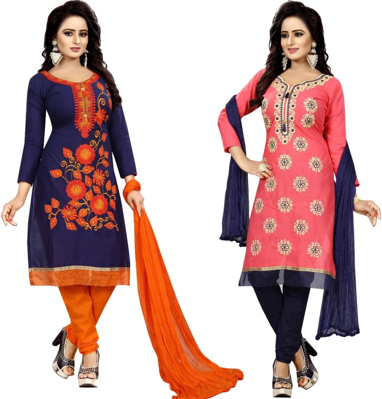 Vetrokart Cotton Embroidered Semi-stitched Salwar Suit Dupatta Material