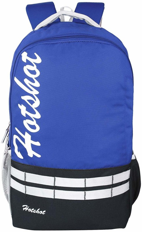 Hot Shot Polyester School, Collage and Casual 30 L medium size Backpack(Blue, Black)