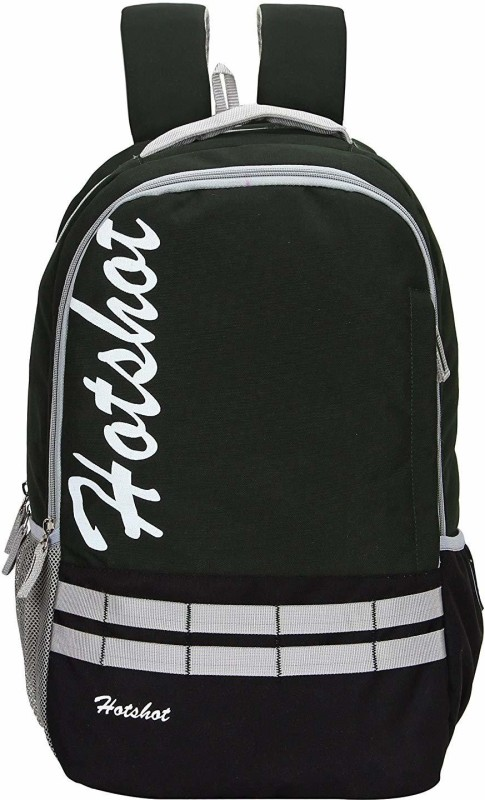 Hot Shot Polyester School, Collage and Casual 30 L medium size Backpack(Green, Black)
