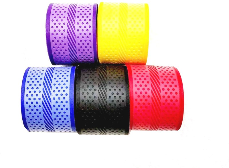 EMM EMM Pack of 5 Pcs Premium PU Badminton Multicolor Grips Smooth Tacky(Red, Blue, Green, Yellow, Black, Pack of 5)
