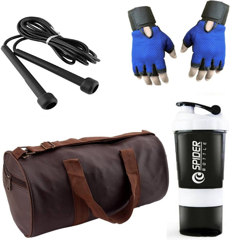 Style Pro Combo Of Leatherite (Brown) Gym Bag, Gloves (Blue), Spider Shaker (White) And Skipping Rope (Black) Gym & Fitness Kit