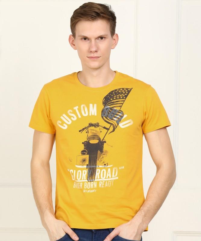 Wrangler Printed Men Round Neck Yellow T-Shirt