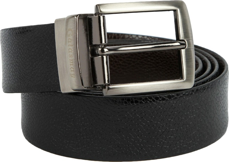 Gatasmay Men Casual Black Genuine Leather Reversible Belt