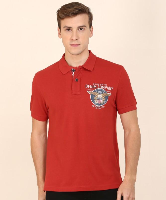 U.S. Polo Assn Solid Men Polo Neck Red T-Shirt