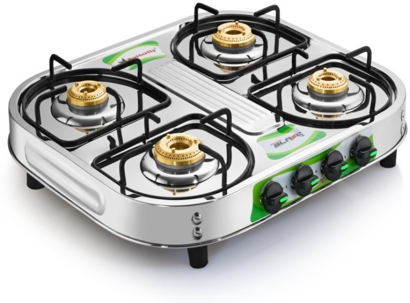 Butterfly Present Stainless steel Gas stove with 4 burner Blaze 4B Stainless Steel Manual Gas Stove(4 Burners)