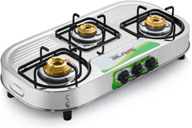Butterfly Present Stainless steel Gas stove with 3 burner Blaze 3B Stainless Steel Manual Gas Stove(3 Burners)