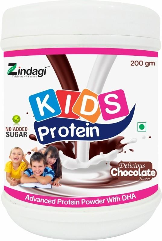 Zindagi Kids Protein Powder With Stevia - Protein Powder For Kids - Health Supplement Whey Protein Chocolate Flavored Powder(200 g)