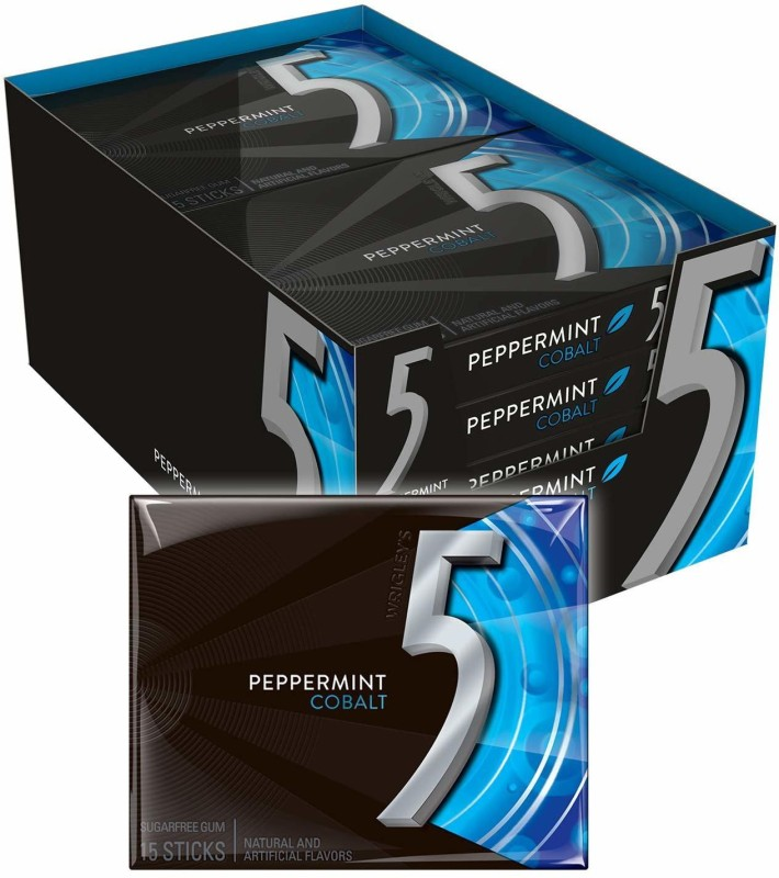 Wrigleys Five Sugar Free Gum, Cobalt Peppermint, 15 Piece Packages (Pack of 10) Peppermint Chewing Gum(10 x 50 g)