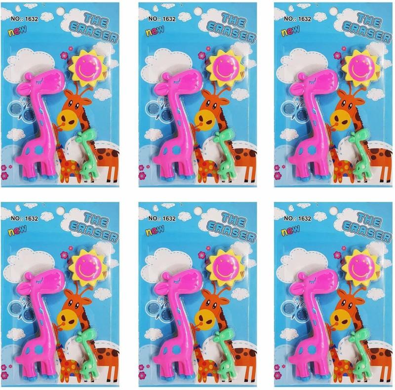 Majik Combo Of 6 Erasers Pack For Kids Birthday Return Gift Children School Accessories Multi