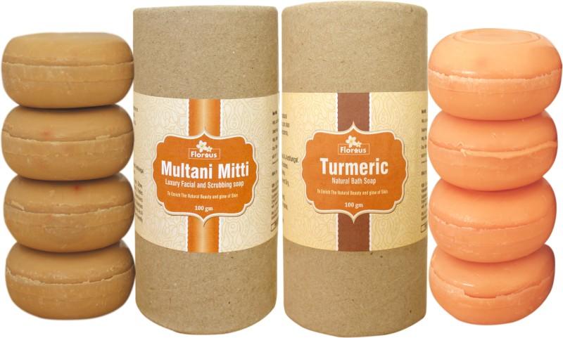 Florous Multani Mitti Luxury Facial and Scrubbing Soap + Turmeric Natural Bath Soap ( 8 x 100 gm )(800 g, Pack of 8)