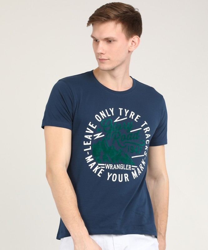 Wrangler Printed Men Round Neck Dark Blue T-Shirt