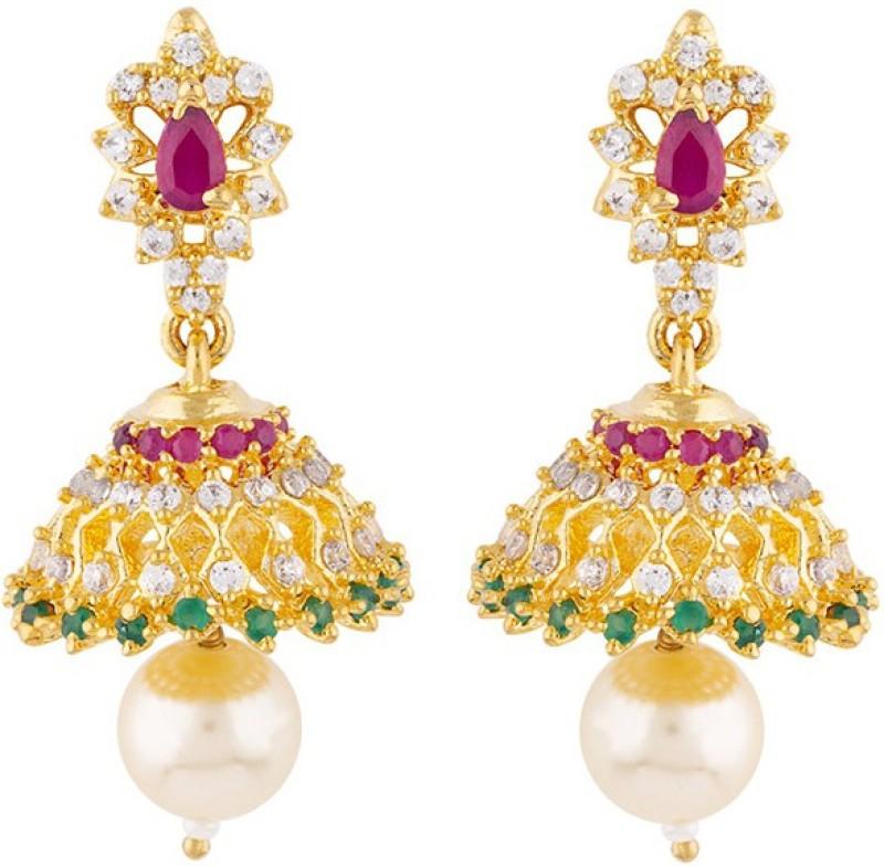 Voylla Tiny Gems Embellished Earrings Emerald Brass Jhumki Earring