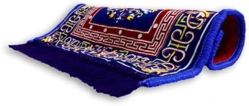 SHIVTEXTILES Polyester Prayer Mat(Blue, Medium)