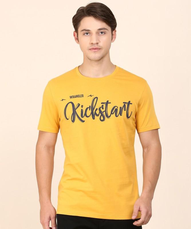 Wrangler Printed Men Collared Neck Yellow T-Shirt