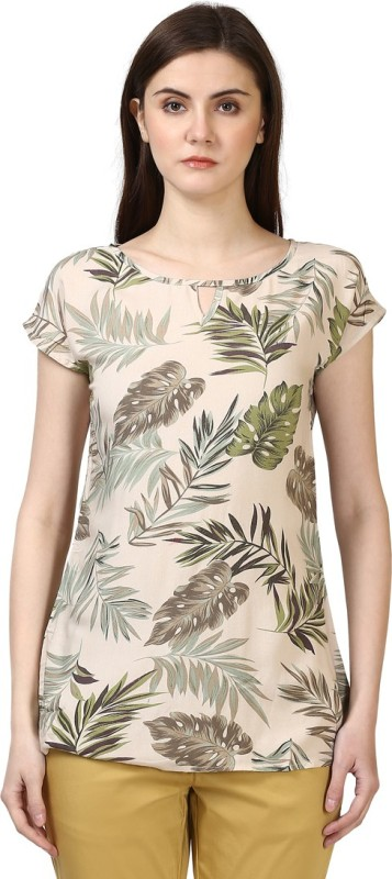 Park Avenue Formal Short Sleeve Printed Women Green Top