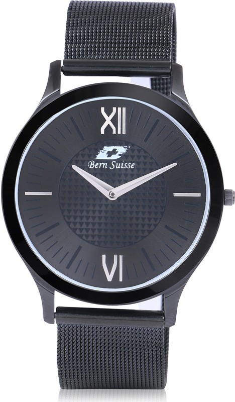 Bern Suisse Japanese Quartz Extra Slim Minimalist Black Mesh Strap Wrist Watch for Men - All Black Analog Watch - For Men