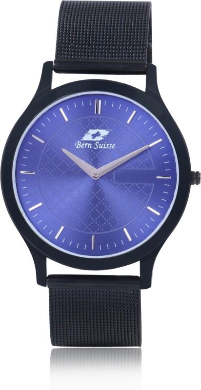 Bern Suisse Mesh Strap Ultra Slim Blue Dial Black Mesh Strap Formal Watch for Men and Boys - Blue Black Analog Watch - For Men