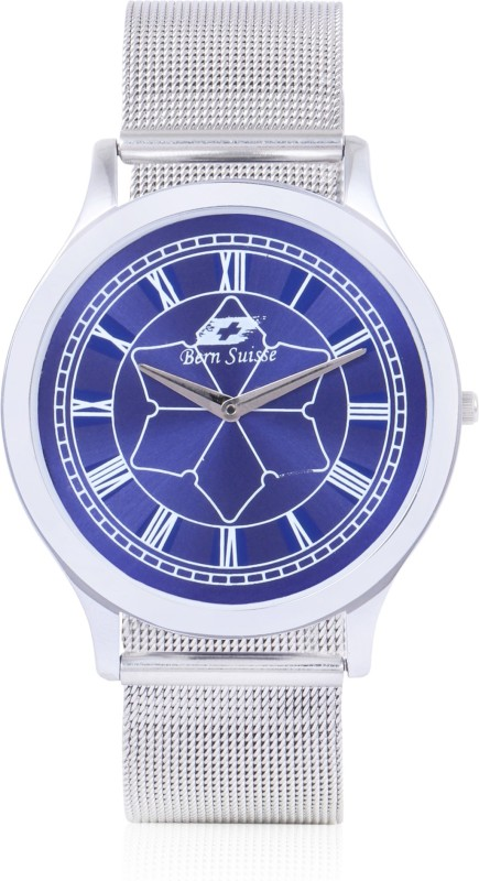 Bern Suisse Slim Case Minimalist Fashion Silver Blue Wrist Watch for Men - Mesh Strap Analog Watch - For Men