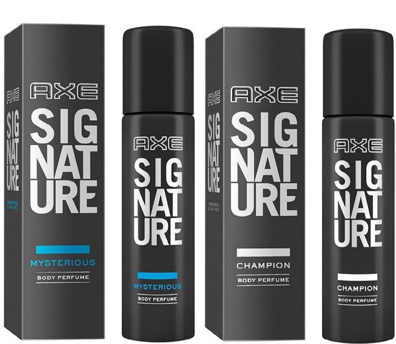 AXE Signature Collection Mysterious Perfume Body Spray + Signature Champion Deodorant Spray -for men 122ml Deodorant Spray - For Men(244 ml, Pack of 2)
