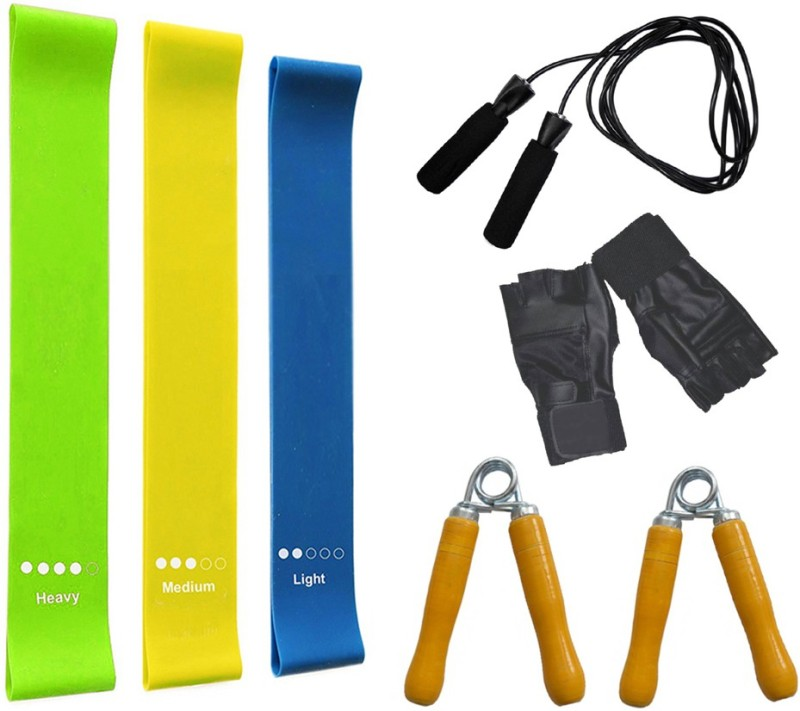 Faiydashop Gym Gloves + Hand Grip + Skipping Rope + Resistance Band (PACK OF 3) Home Gym Kit