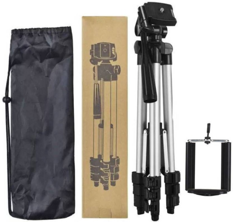 WDS BEST BUY PORTABLE ALUMINIUM BODY 3110 TRIPOD WITH ANTI SLIP LEG SECTION SUPPORT PORTABLE TRIPOD FOR DSLR,CAMERA,TELESCOPE AND ALL SMARTPHONES Tripod(Silver & Black, Supports Up to 1500) Tripod(Silver, Black, Supports Up to 1500 g)
