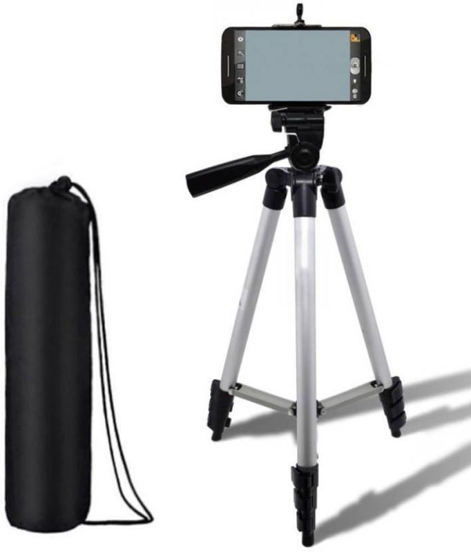 WDS Head Foldable Camera Tripod Tripod(Silver & Black, Supports Up to 1500) Tripod(Silver, Black, Supports Up to 1500 g)