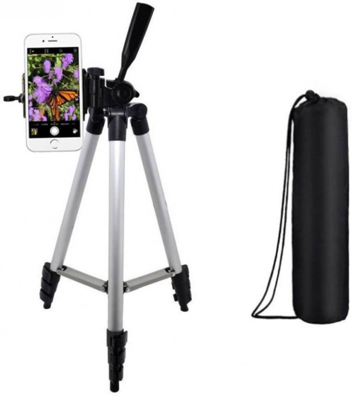 WDS Tripod-3110 Adjustable Aluminum Lightweight Camera Stand With Three-Dimensional Head & Quick Release Plate For Video Cameras and Mobile Holder Tripod(Silver & Black, Supports Up to 1500) Tripod(Silver, Black, Supports Up to 1500 g)