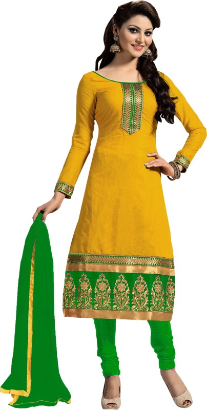 Women Latest Fancy Designer Salwar Suit Poly Chanderi Embroidered Salwar Suit Material(Unstitched)