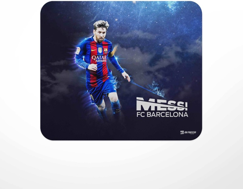 Jbn Messi Barcelona - Graphical   Premium Gaming Mousepad   Anti-Slip Rubber Base   Designer Mouse Pad   Anti Skid Technology Mouse Pad for Laptops and Computers   Pack of 1 Mousepad(Multicolor)