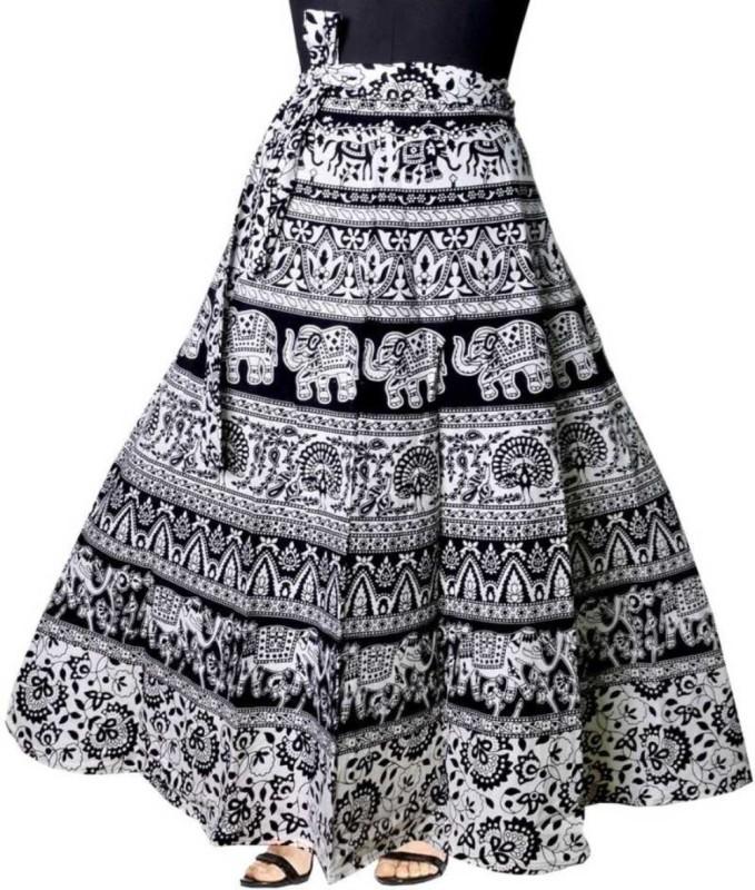 Modern Kart Printed Women Wrap Around Black Skirt