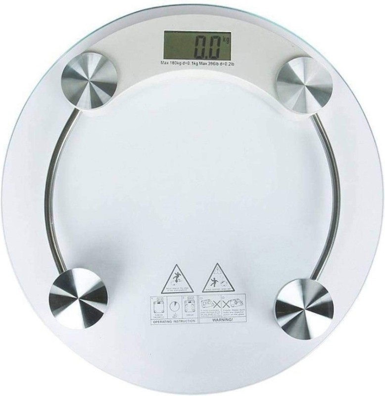 Continental Thick Personal Body Weight Machine Glass LCD Display Round Shape 6mm Weighing Scale(Transparent)
