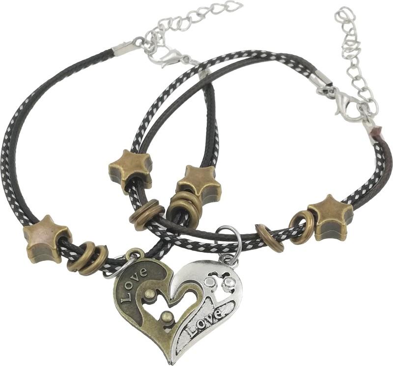 Saizen Leather, Stainless Steel Rhodium Bracelet Set(Pack of 2)