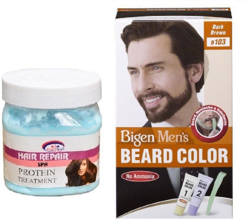 Pink Root Hair Spa Cream With Bigen Men's Beard Color B103 Dark Brown(2 Items in the set)