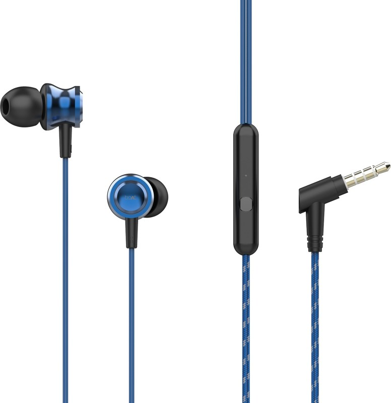 boAt BassHeads 152 Wired Headset with Mic(Jazzy Blue, In the Ear)
