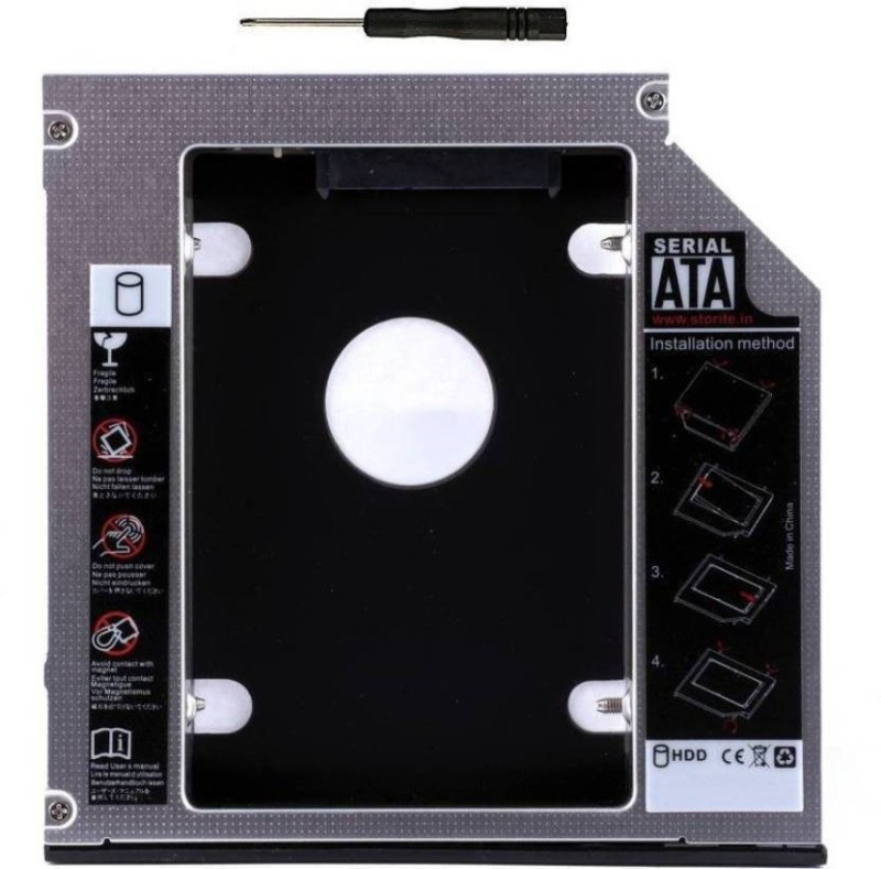 HexaGear 100% Original Heavy 12.7mm Universal 2nd bay Caddy for CD/DVD-ROM - Expand your data storage on your Laptop with 2.5 Internal Hard Drive Enclosure Hard Drive SATA 2nd HDD Caddy Tray Internal Optical Drive(Black)