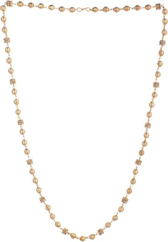 Shine Art Shine art Aone Quality Diamond Touch Gold Plated Designer Matar Mala Necklace And Chain for women & Girls. (24inch) Gold-plated Plated Brass Necklace
