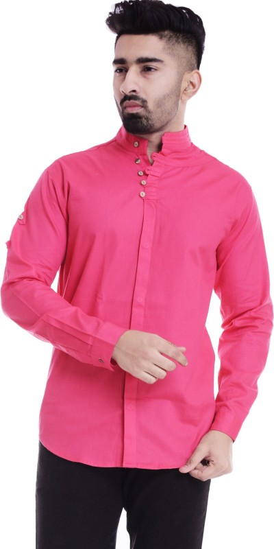Nahiko Men Solid Casual Pink Shirt