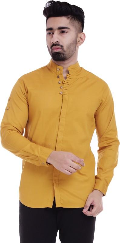 Nahiko Men Solid Casual Yellow Shirt