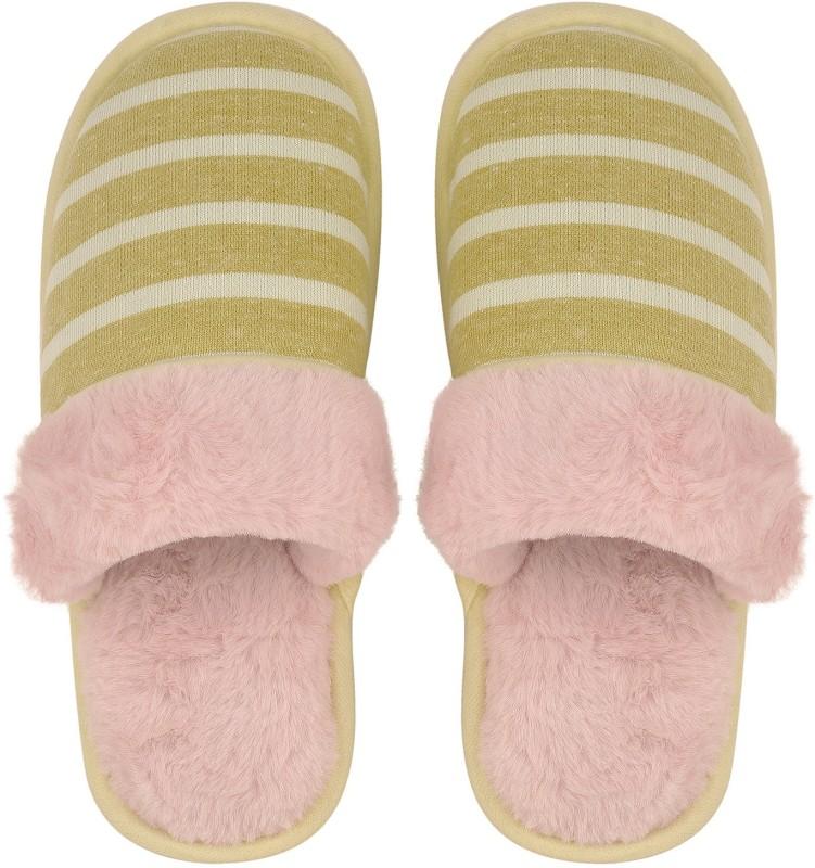 DRUNKEN Slipper For Women's Flip Flops House Slides Home Carpet Light Yellow Sandals Slides