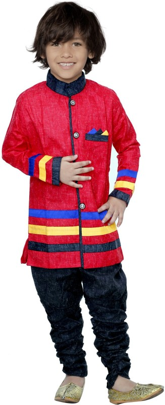 SmartRAHO Boy's Festive & Party Kurta and Churidar Set(Red Pack of 1)
